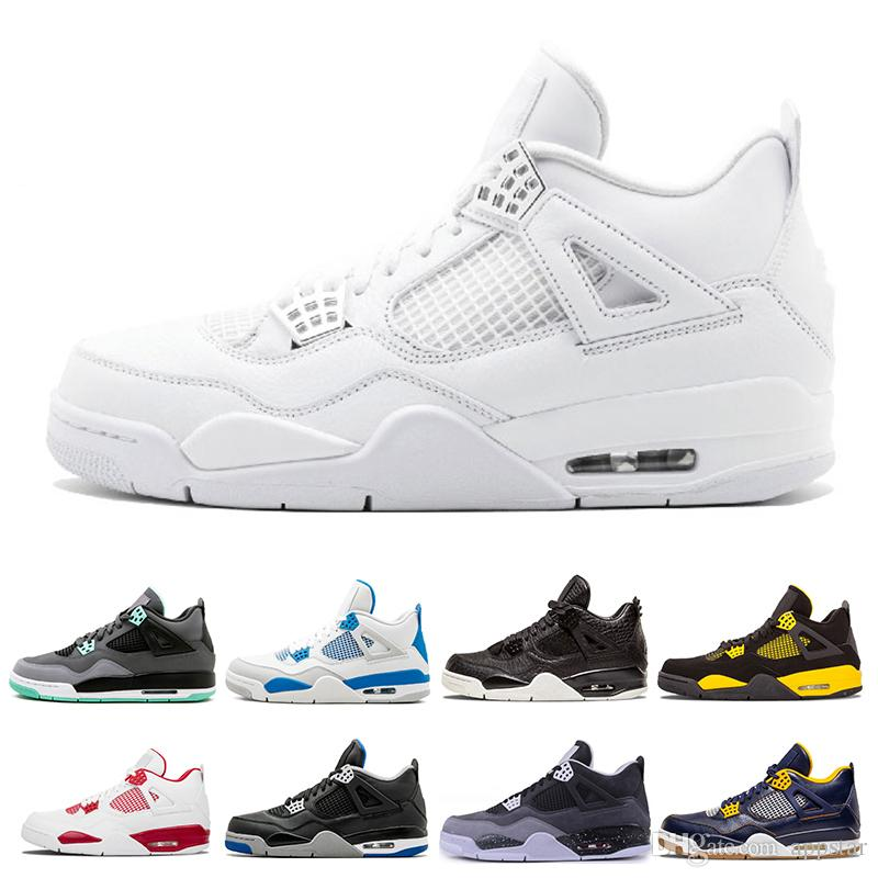 Classic 4 4s men basketball shoes White Cement Pure Money Royalty Thunder Bred oreo Motosports blue Sports sneakers shoes US 7 13