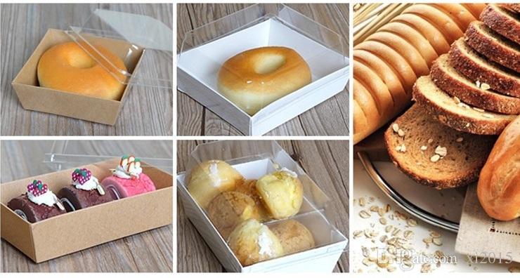 Scatole d'imballaggio della scatola del panino del dessert dell'hot dog del dolce con i coperchi di plastica trasparenti Coperture di carta di Kraft del cartone