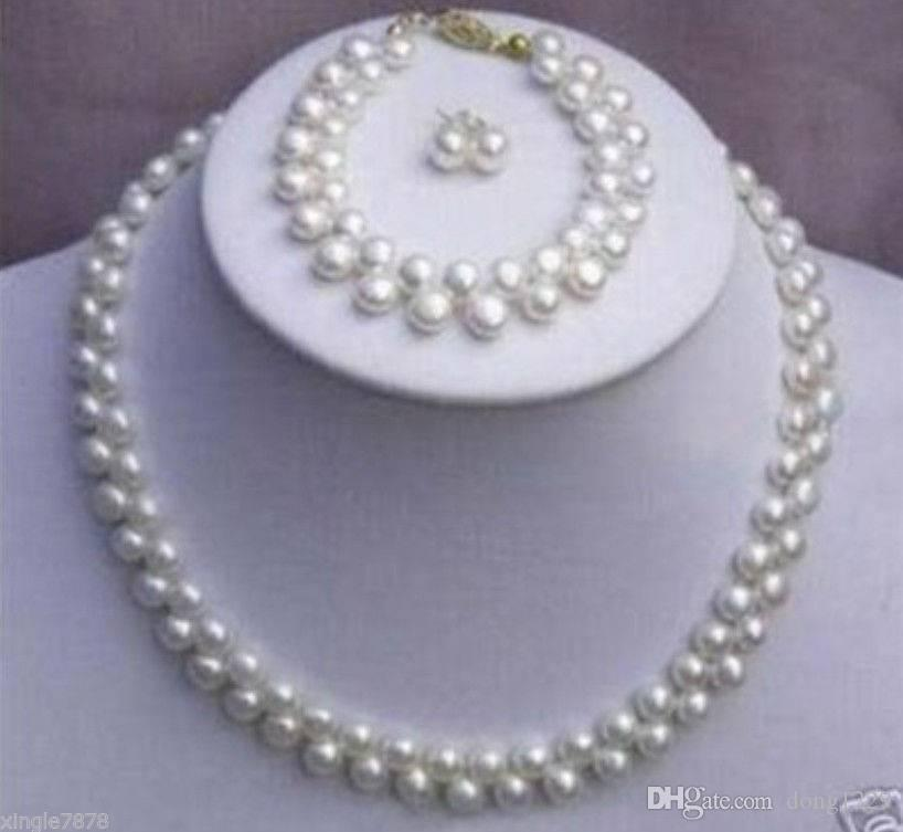 Beautiful 8-9MM Natural White Pearl Round Necklace Bracelet Earring set