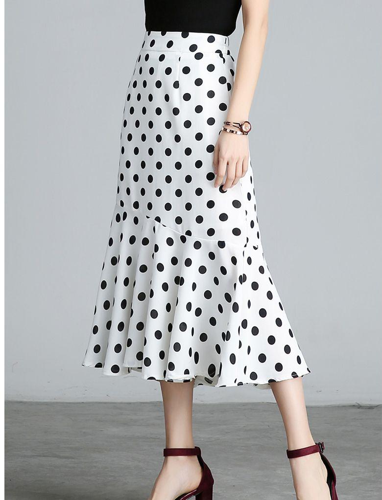 7481d5fa7 2019 Plus Size S 4XL High Waist Bodycon Chiffon Skirt Women Ruffle Hem  Vintage Polka Dot Print Fishtail Midi Skirts Womens From Shoppingparty, ...