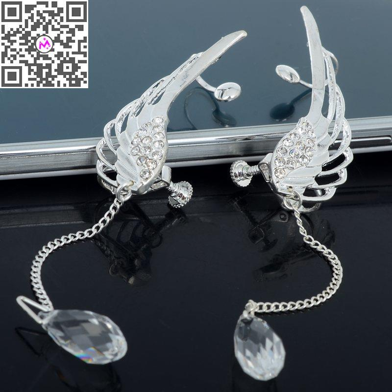Crystal Rhinestone Wing Ear Cuff Earrings Women Silver Angle Wing Earring Crystal Long Drop Dangle Ear Cuff Clip Earrings
