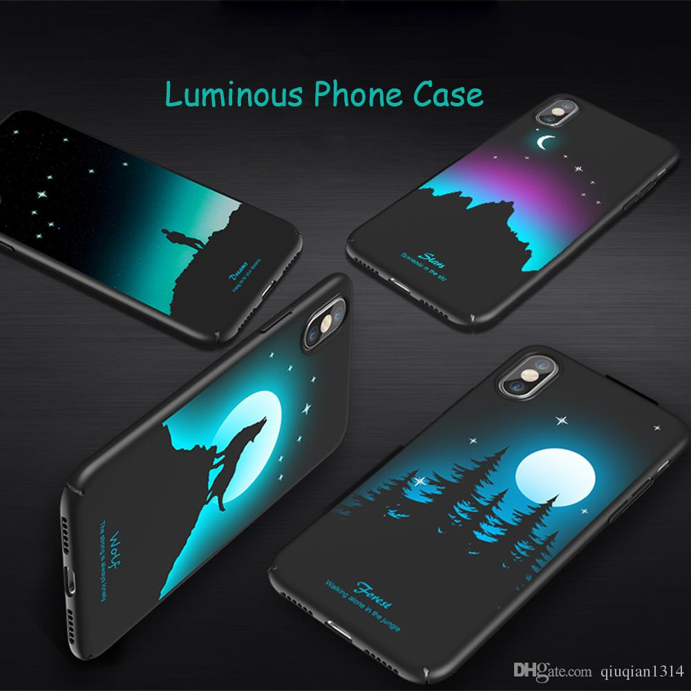 info for 6a520 4e8da Luminous Protective Case for iPhone X Glow in the Dark 3D Relief Painting  Fluorescent Color Changing Hard Case Cover Slim Fit Back Shell