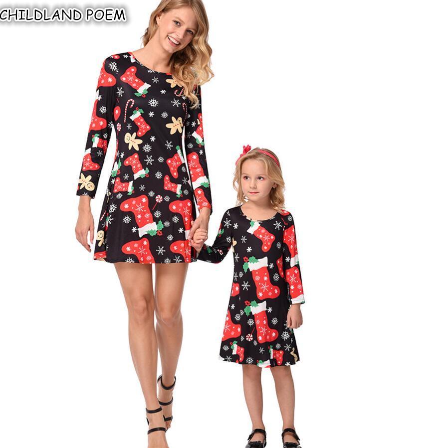 c2d158111c1e3c Mãe filha vestidos natal mamãe e me roupas roupas manga longa papai noel  família olhar mãe e filha vestido