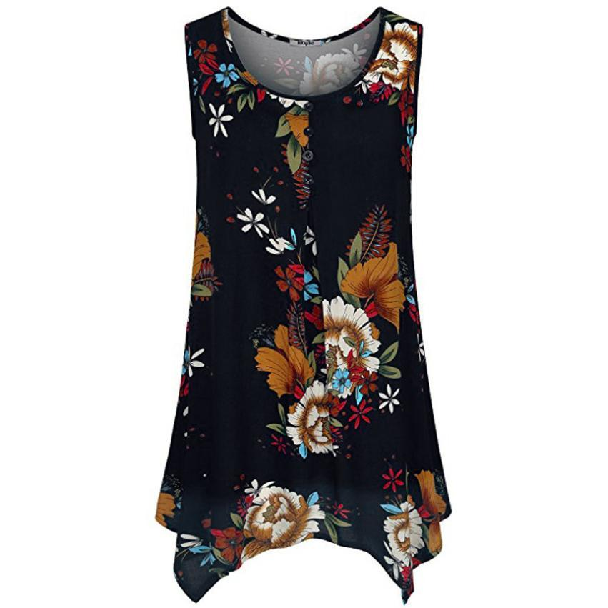 57ef63d6a968e 2019 Summer Women Chiffon Summer Vest Sleeveless V Neck Buttons Front Solid Tank  Top White Blouse Top Cami Hot Sale From Bailanh