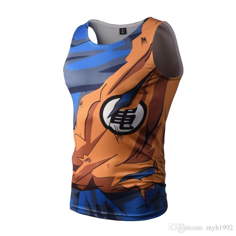 2018 New arrival fashion men's t- shirts sports 3d digital printing sweat sweat vest cartoon anime muscle men's vest Funny breathable