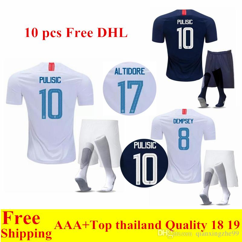0162ebf9d ... discount code for 2018 2018 united states world cup home away soccer  jerseys pulisic 10 dempsey