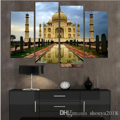 No Frame Modern Home Decor Canvas Painting Taj Mahal Building Pictures Decorative Paintings Wall Art Printed on Canvas