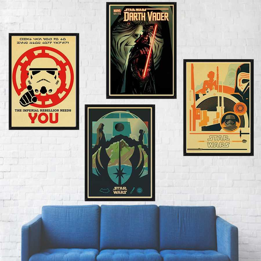 Classic Movie Poster Darth Vader Wall Art Home Decor Kraft Paper Print Painting Wall Sticker