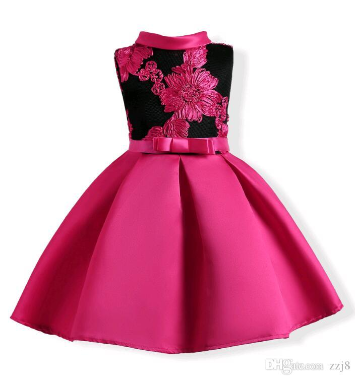 a2285d61aa7f3 Embroidery Children Party Dresses Europe And American Style Kids Girls Dress  Fit 3-10 Years Old Child Red Blue Children Party Dresses Dresses for Girls  ...