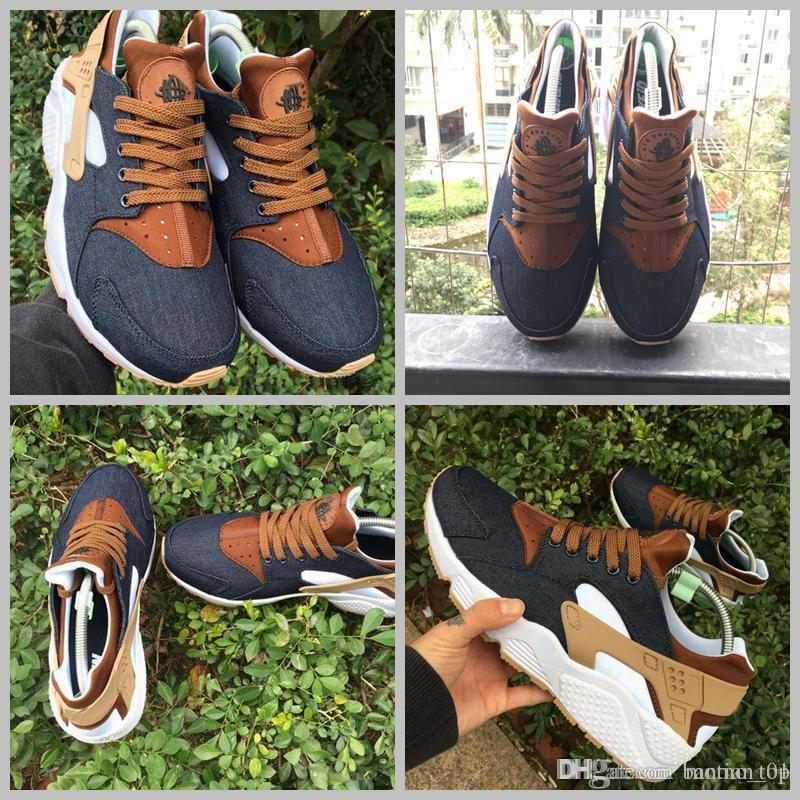 264fafe52 2018 Huarache ID Custom Breathe Running Shoes For Men Women Denim ...