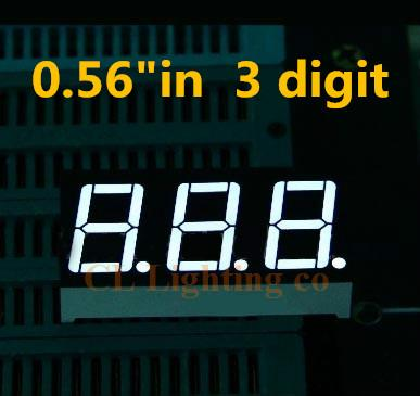 "0.56 inch white 3 digit LED Display Module 0.56"" 0.56in DIP digital tube Common cathode 7 Segment 3 Digital LED Display"