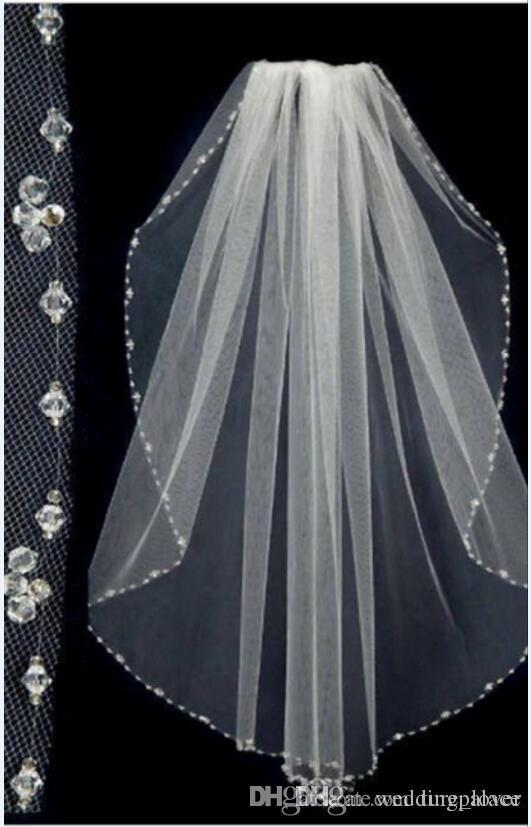 Hot Sale Short Bridal Wedding Veils Beaded Edge Tulle One Layer Bride Head Veils Wedding Bridal Accessiories
