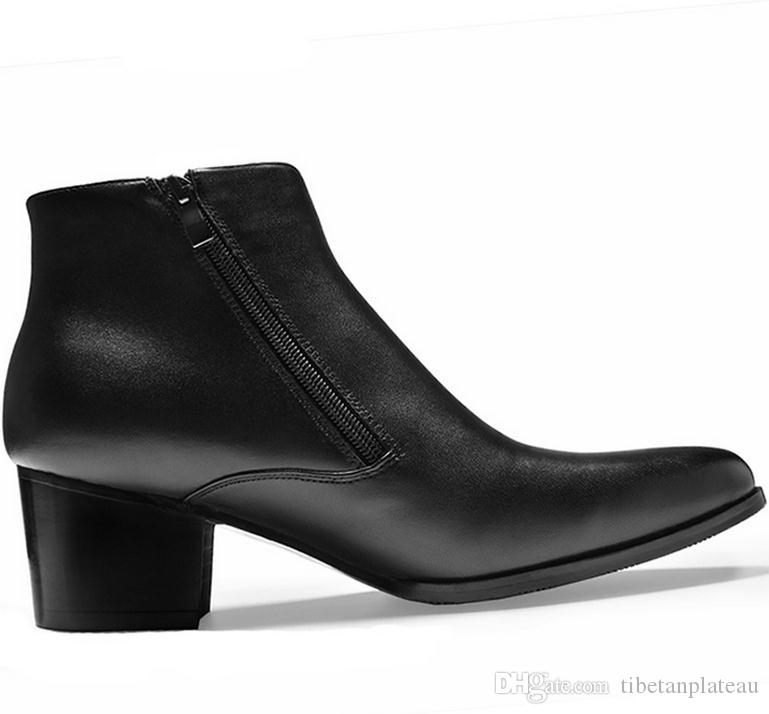 New Fashion Black Pointed Toe Double Zip Mens High Heels Genuine Leather  Boots Wedding Shoes Men Career Work Stylist Ankle Boots Ankle Boots For  Women Mens ... 685a9e0d1cbc