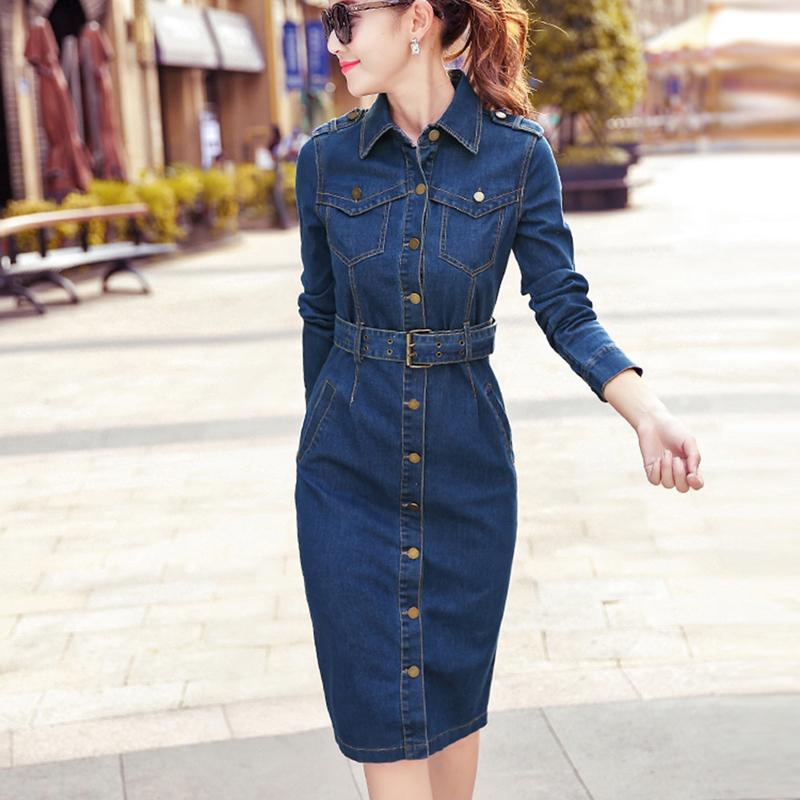 2019 OL Office Sexy Denim Dress Plus Size 2XL Long Sleeve Jeans Dress Women  Bodycon Dress Pencil Vestido Jeans Feminino Lace Dress Casual Dress Of Woman  ... 9180908c3078