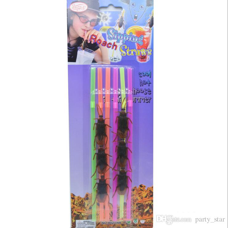 Serin 25 takım / grup Doğum Günü Cadılar Bayramı Partisi Hamamböceği Saman Sahne April fool Günü Pranksters PVC Saman Aracı Çocuk Parti Komik Oyuncak Malzemeleri