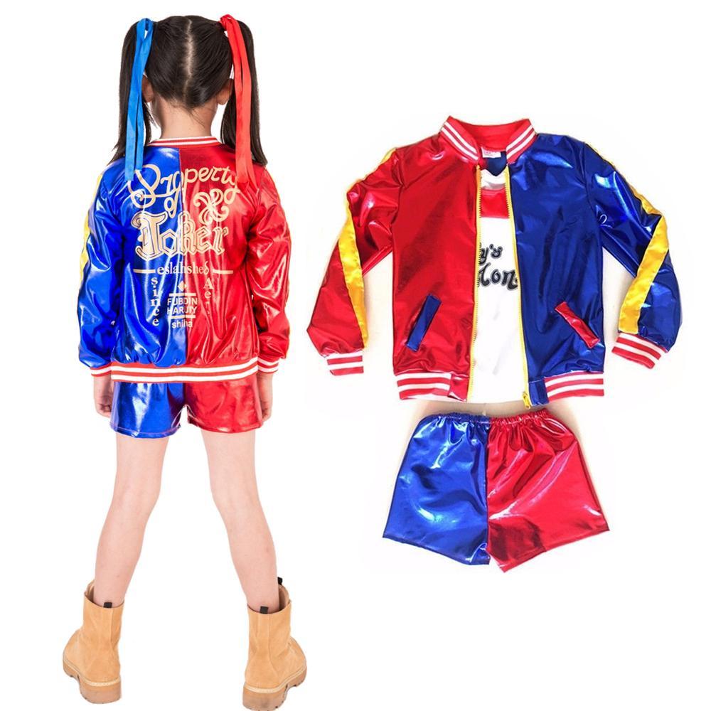 Acquista 2018 Ragazze Suicide Squad Costume Harley Quinn Coat Shorts Top  Set Costume Cosplay Halloween Suit I Bambini A  27.06 Dal Aprili  9cc414a4b7f