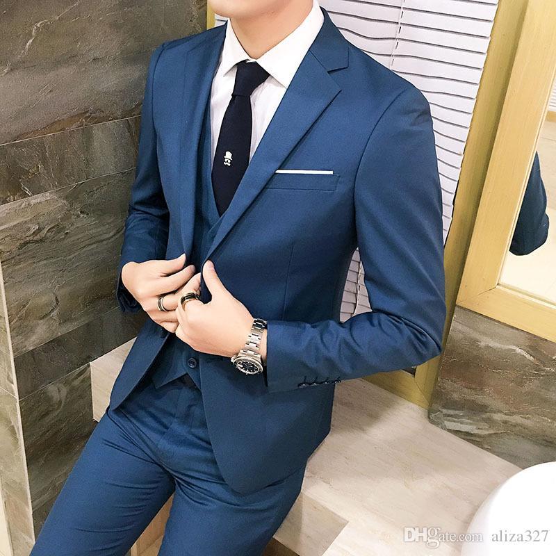 Compre Personalizado Traje Casual Para Hombre Nuevo Traje De Tres Piezas  Chaqueta + Pantalón + Chaleco Traje Formal De Negocios Para Hombres Novio  De Boda ... bae0c29a7fcc