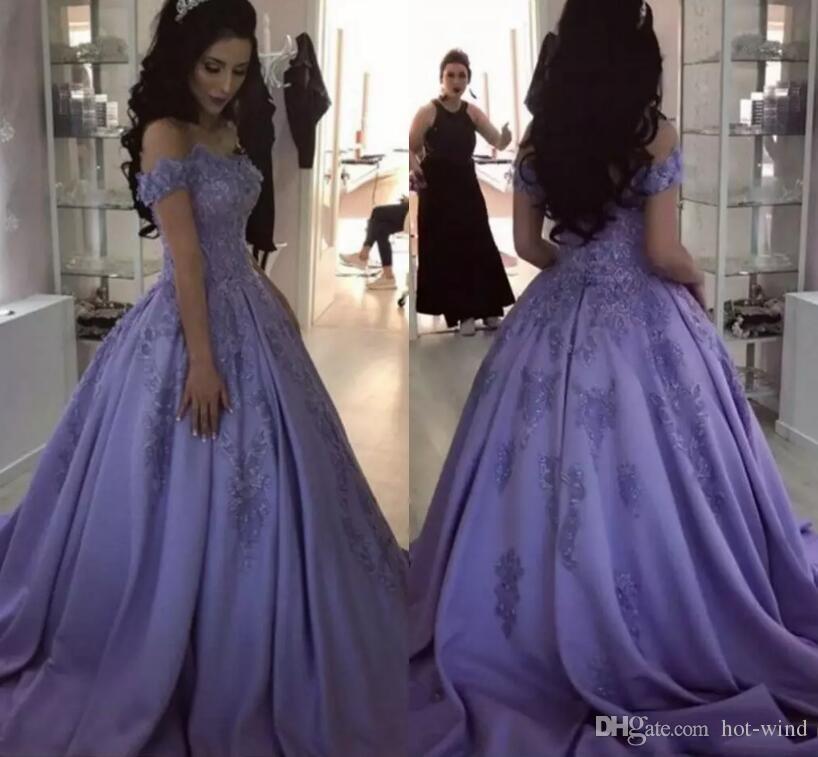 c7ace5adb94 Lavender A Line Satin Long Prom Dresses 2019 New Off Shoulders Lace  Appliqued Formal Evening Party Gowns Vintage Prom Gowns Prom Dresses Lace Prom  Dresses ...