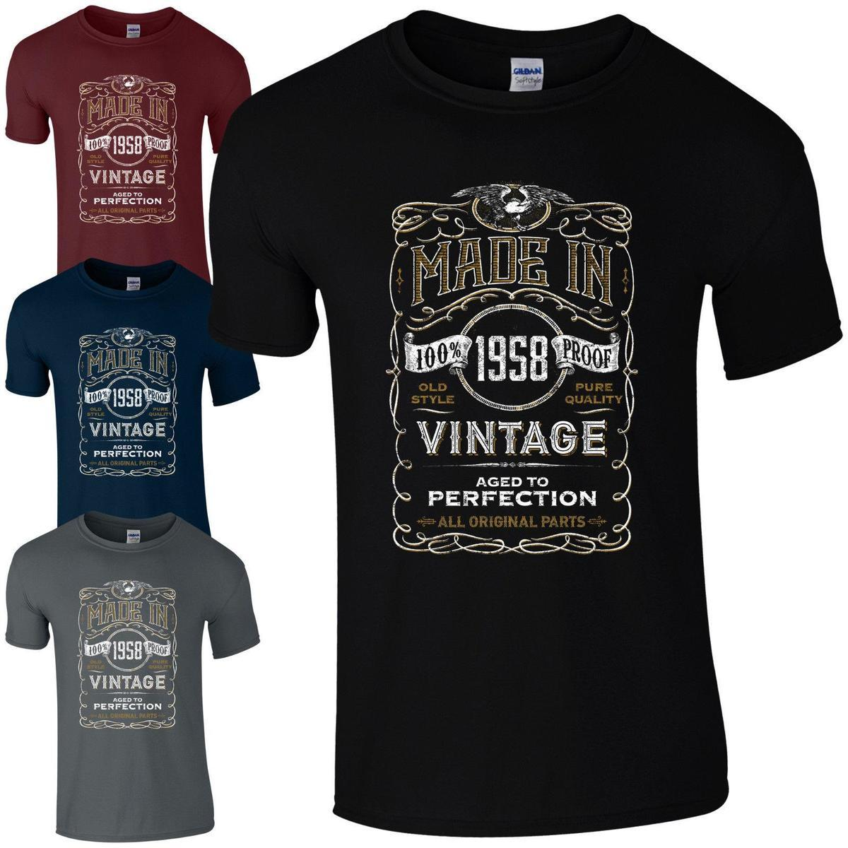 Made In 1958 T Shirt Born 60th Year Birthday Age Present Vintage Funny Mens Gift Tee Shirts Design Buy Online From Amesion35 1208