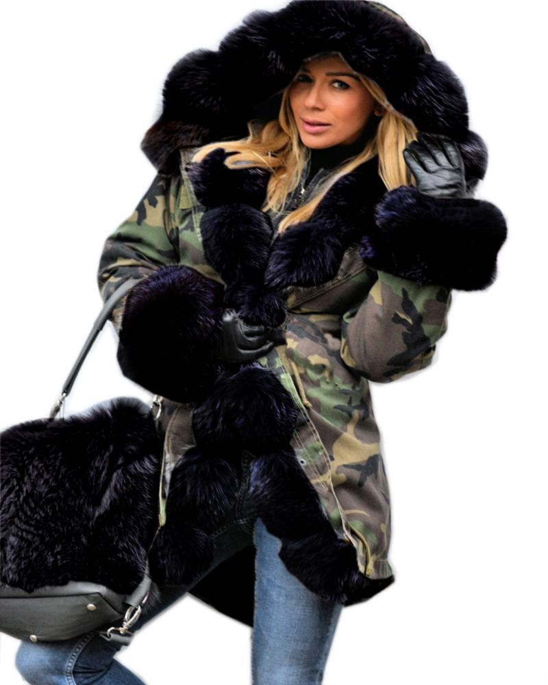 d47b08d8d2a4 2019 Roiii Thickened Warm Loose Camouflage Black Faux Fur Casual Parka  Fashion Women Hooded Long Winter Jacket Overcoat EU Size 36 50 From Salom,  ...