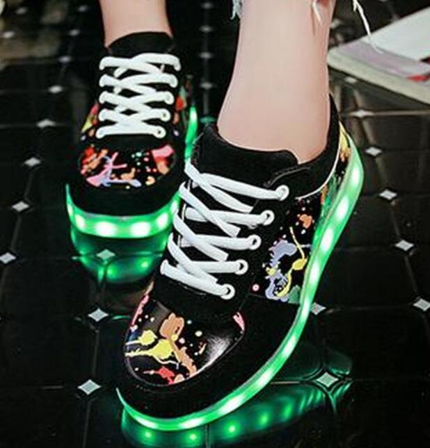 c56d410bad211 35 43 Shining Luminous Led Boy Girl Lighted Sole Kid Light Up Red Black  White Flash In Night Unisex Usb Charging Silver Glowing Sneakers Boat Shoes  Kids ...