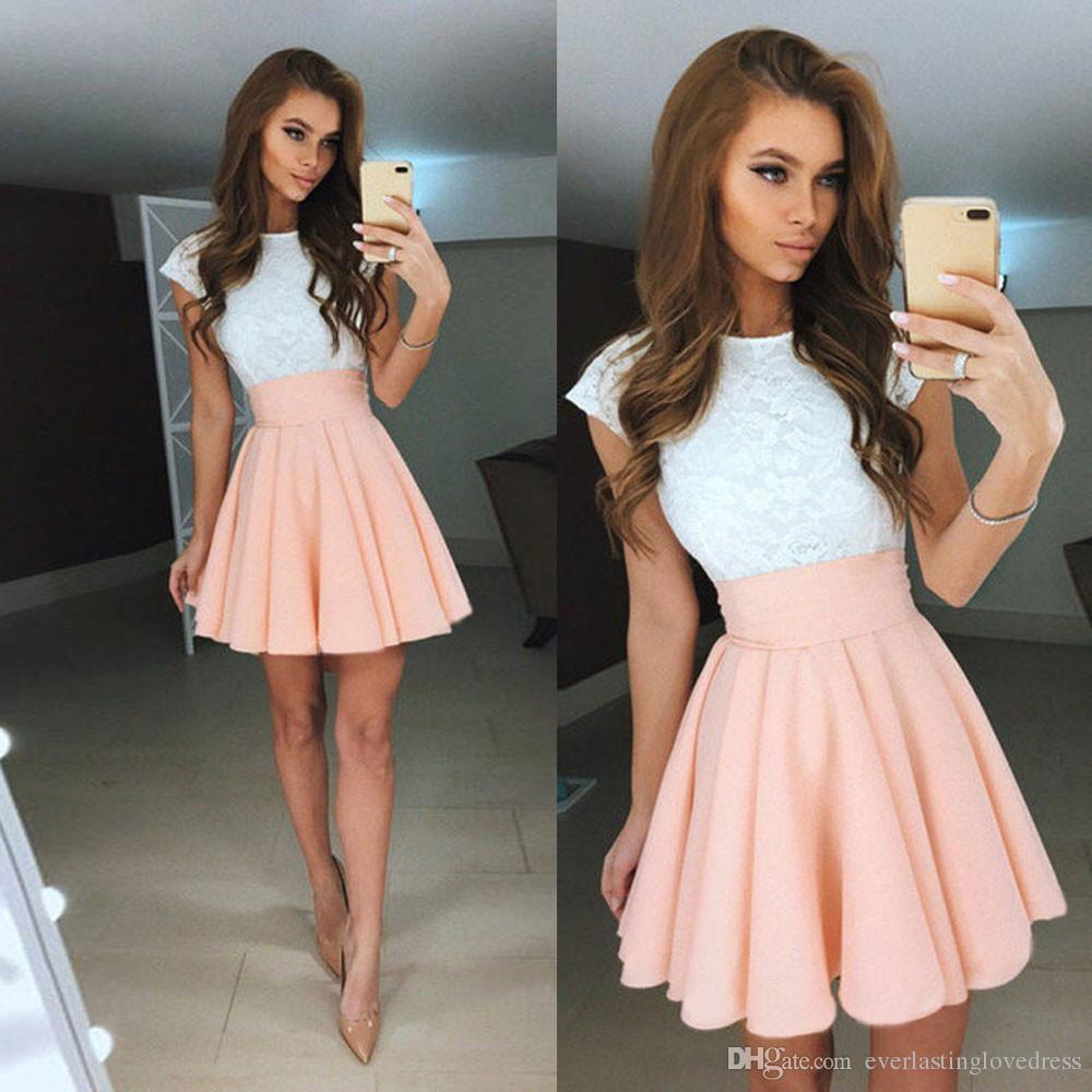 High Neck Knee Length Cap Sleeves Lace Lovely Online Mini White And Cream Homecoming Dresses Short Prom Dresses