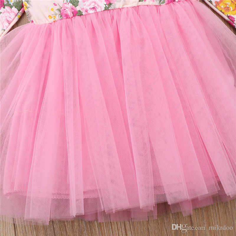 Mikrdoo Blume Kinder Kleinkind Baby Mädchen Kleider Langarm Party Prinzessin Tutu Kleid Kinder Formale Geburtstag Kleidung