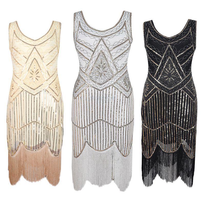 2018 2018 Hot Women 1920 S Black Vintage Gatsby Flapper Dress Plus