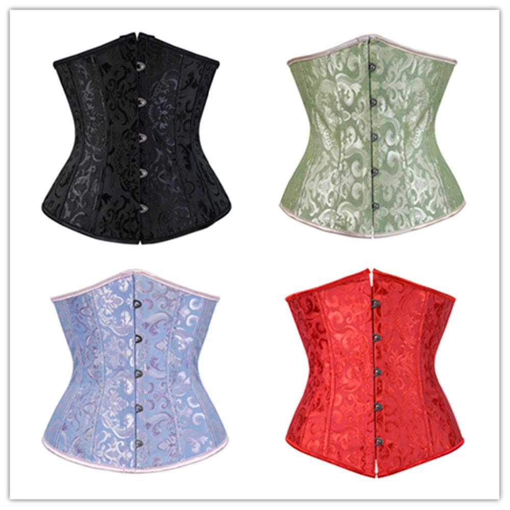 7771943f33c 2019 Sexy Satin Jacquard Floral Underbust Corset Lace Up Boned Body Shaper  Waist Cincher Bustier Plus Size S 6XL From Glass smoke