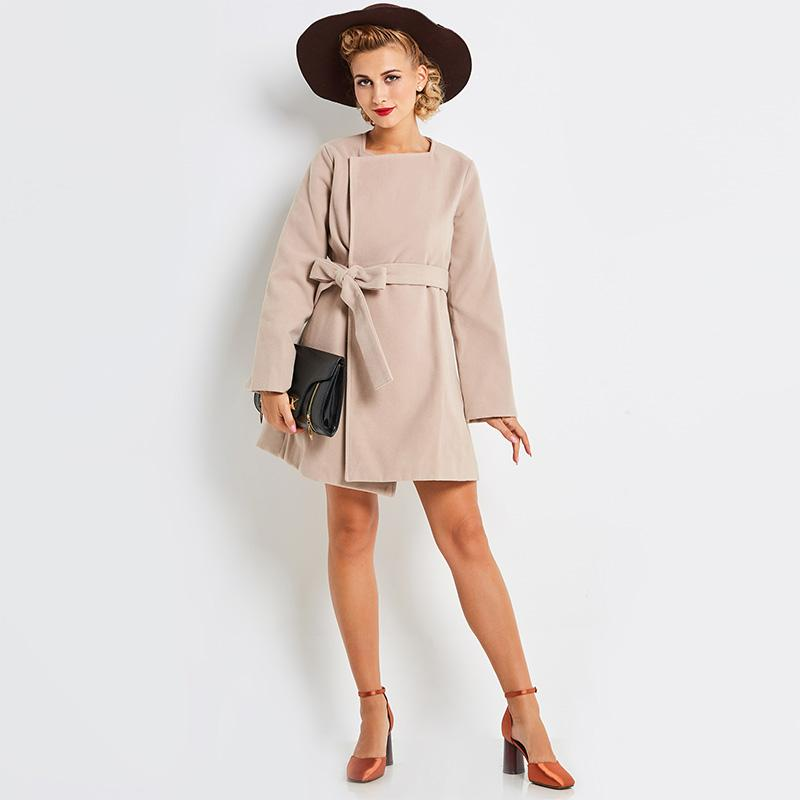 Young 17 Women's Autumn&Winter A-Line Apricot Coat Full Sleeve Square Collar Lace-up&Belt Long Female's Wool Blends Coat