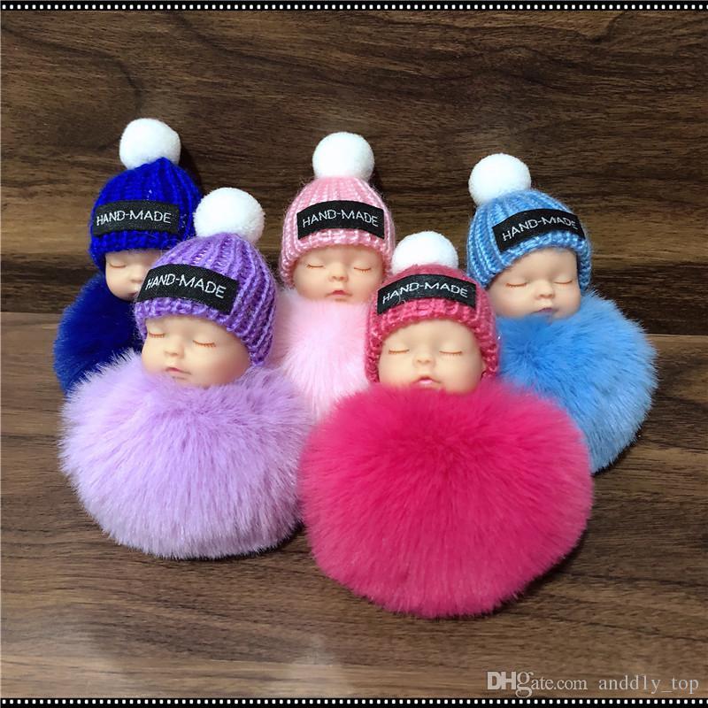 2018 Cute Sleeping Baby Doll Keychain Pompom Rabbit Fur Ball Key Chain Car  Keyring Women Key Holder Bag Pendant Charm Accessories UK 2019 From  Andd1y top a403ebacff94c