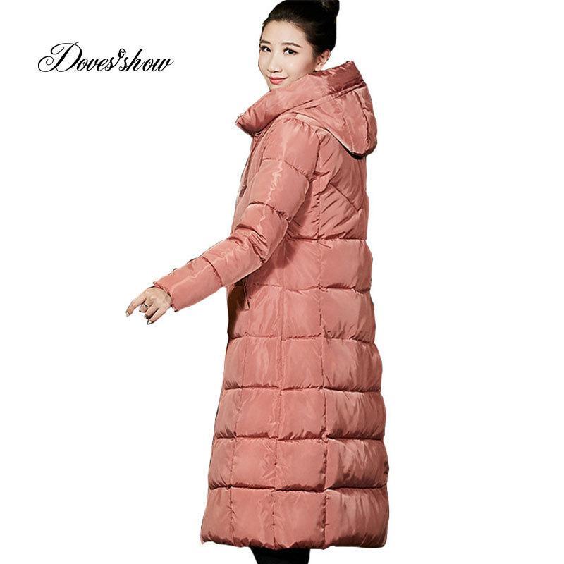 newest 6c1d7 87f32 Hooded Winter Daunenmantel Jacke lange warme Frauen Baumwolle gefütterte  Casaco Feminino Abigos Mujer Invierno wattierte Parkas Outwear Mantel ...