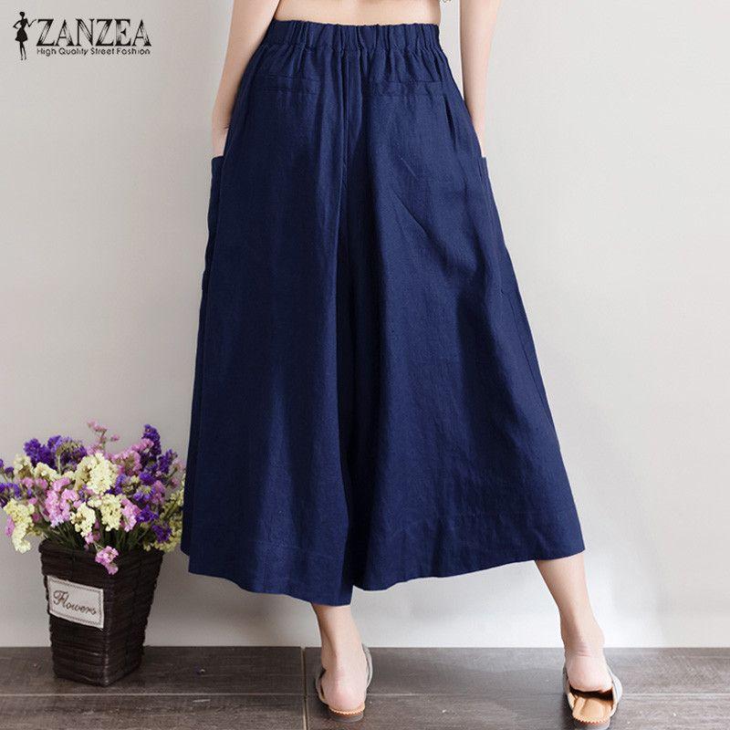 2017 ZANZEA Women Cotton Linen Wide Leg Elastic Waist Palazzo Culottes Capris Harem Pants Trousers Loose Casual Long Pantalons