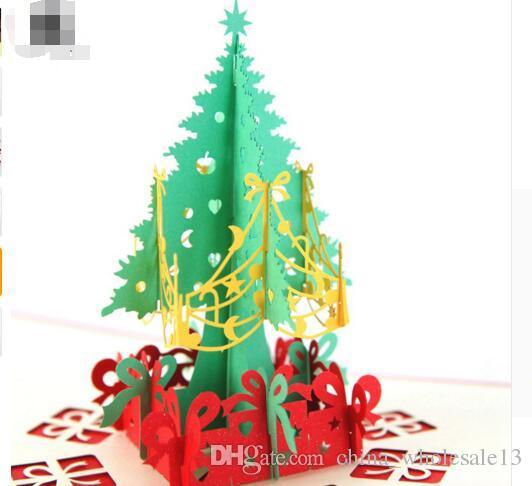 Buon Natale 3d.Acquista Buon Natale Albero Vintage 3d Taglio Laser Pop Up Carta