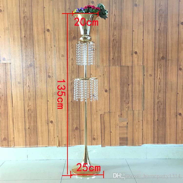 135cm tall crystal wedding flower vase stand Wedding Pew aisle decor T-stage flower decoration road lead event party table centerpieces