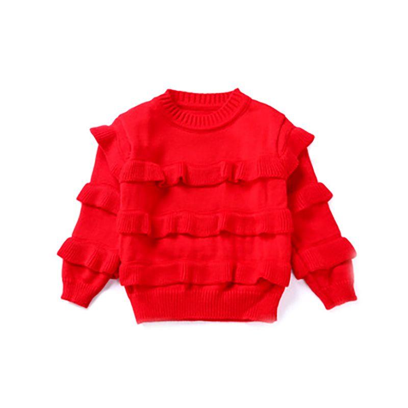 code promo d8269 d4b84 Bébé Filles Automne Hiver Chandails 2018 Fille À Manches Longues Tricoté  Pull Rouge Chandail De Noël pour 2-6Y Enfants Chaud Velours Manteau