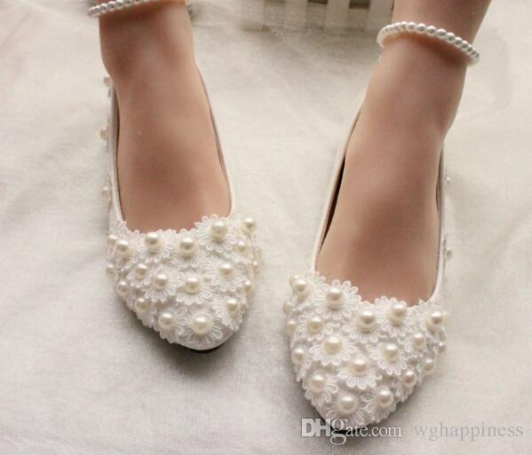 339b3afc9cf Pearls And Lace 2018 Wedding Shoes Flats Bridal Shoes Sweet ...