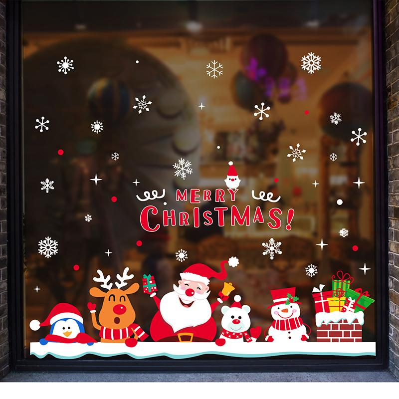 [SHIJUEHEZI] Christmas Window Sticker Cartoon Santa Claus Snowmen Deer Snowflakes Wall Decals for Market Shop Glass Decoration