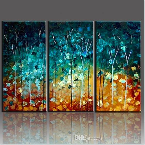 2019 Handmade Painting Trees Large Unframed Landscape Paintings Oil