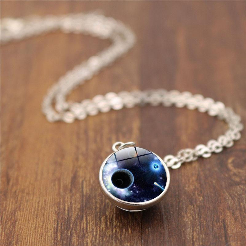 XUSHUI XJ Universe Galaxy Planet Glass Cabochon Double Sided Pendant Necklace Vintage Handmade Jewelry Silver Chain Necklace