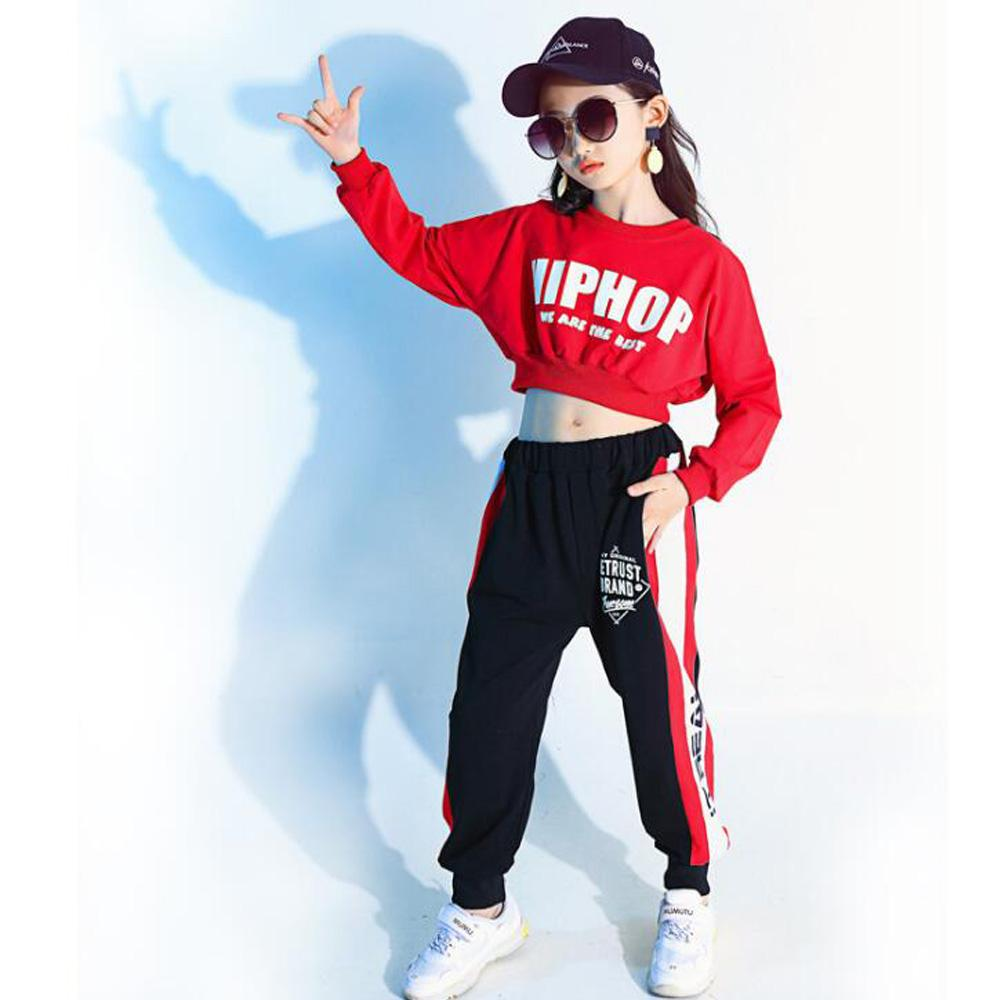 differently 3066d 2ed84 Kids Red Long Sleeve Hip Hop Clothing Clothes Jazz Dance Costume for Girls  Crop Sweatshirt Shirt Top Ballroom Dancing Stage wear