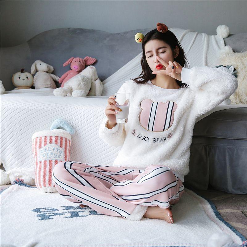 330add629578 New Winter Women Cartoon Flannel Cashmere Nightwear Home Leisure ...