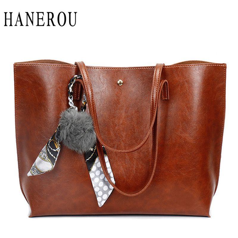 HANEROU 2018 Fashion Women Bag Ladies Brand Leather Handbags Spring Scarves  Casual Tote Bag Big Shoulder Bags For Woman Sac Wholesale Bags Over The  Shoulder ... 32ea8397c323