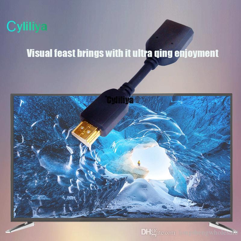 başına toptan 100 adet / grup 11 cm Ayarlanabilir Rotasyon HDMI Erkek Kadın Döner Adaptörü Dönüştürücü BlacK Ücretsiz kargo
