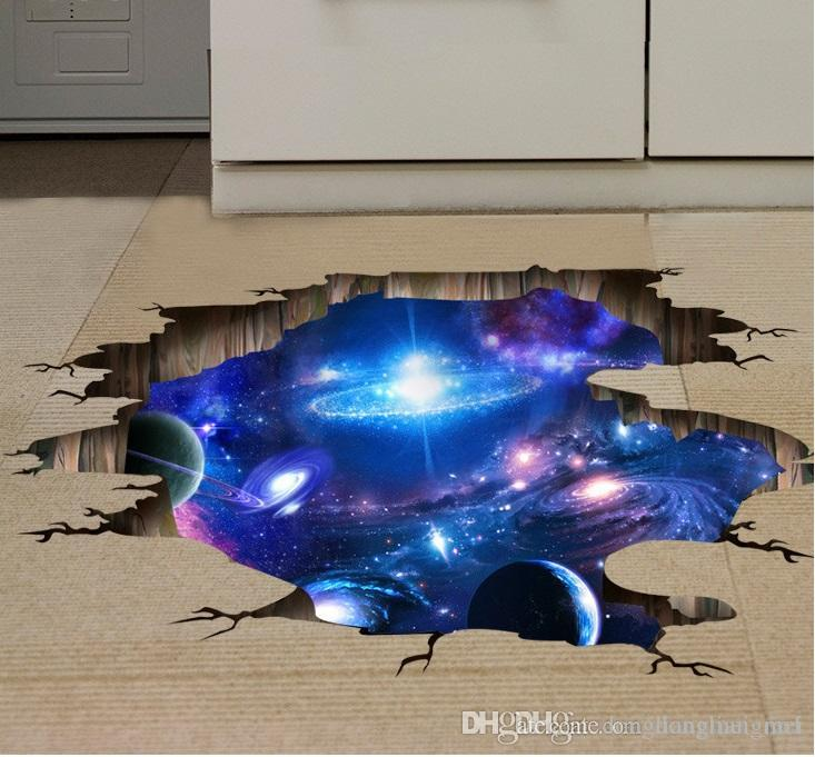 Vinyl 3d Muursticker.4 Style 3d Outer Space Planet Wall Stickers For Kids Room Floor