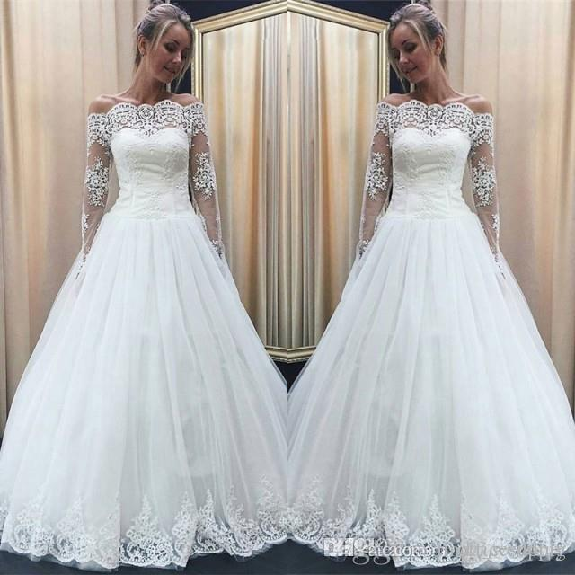 Discount New Arrival White Wedding Dress Noble A Line Off Shoulders Long  Sleeves Country Garden Bride Bridal Gown Custom Made Plus Size Wedding  Gowns For ... 23027fafc