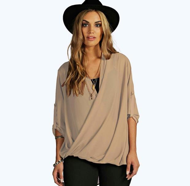 dff6c5e9280 2019 Chiffon Blouse Women Plus Size Shirt Tops 5xl 6xl Solid V Neck  Foldable Long Sleeves Loose Large Size 4xl Summer Blusas JR194 From  Volontiers