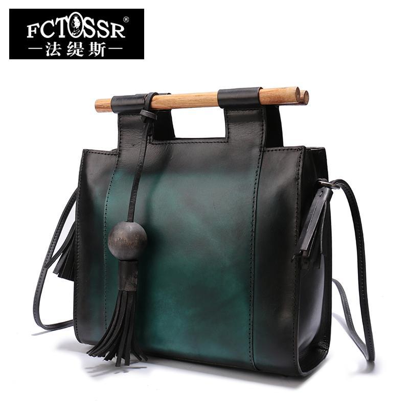 9a04fdf7a1 FCTOSSR Women's Handbags 2018 Latest Shoulder Ladies Sling Bags Handmade  Genuine Leather Wooden Handle Vintage Messenger Bag
