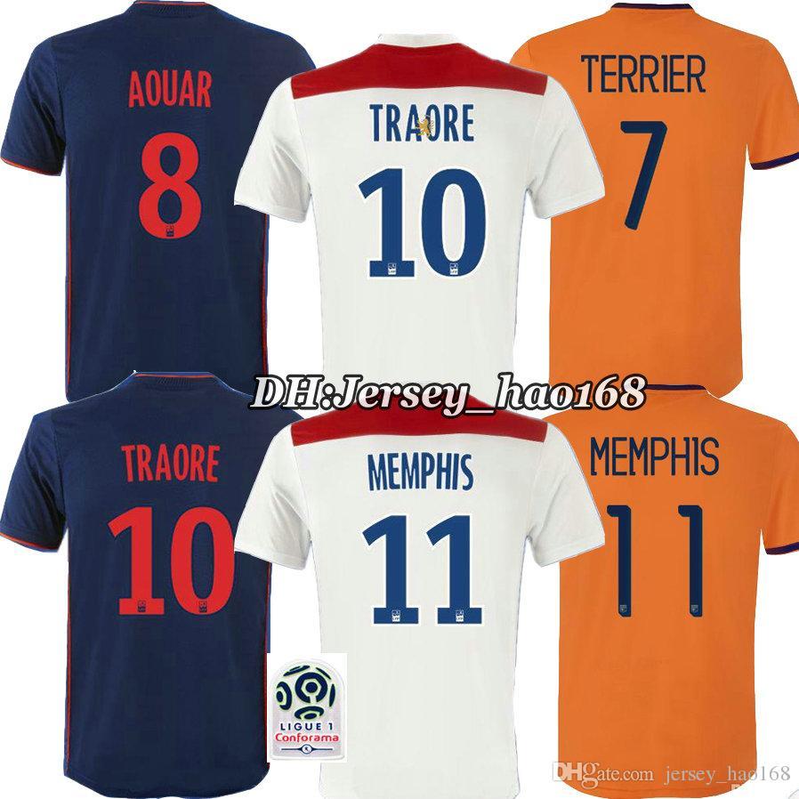 bb804950f52 low price 2018 18 19 olympique lyonnais home soccer jersey white abily  gouiri traore memphis fekir