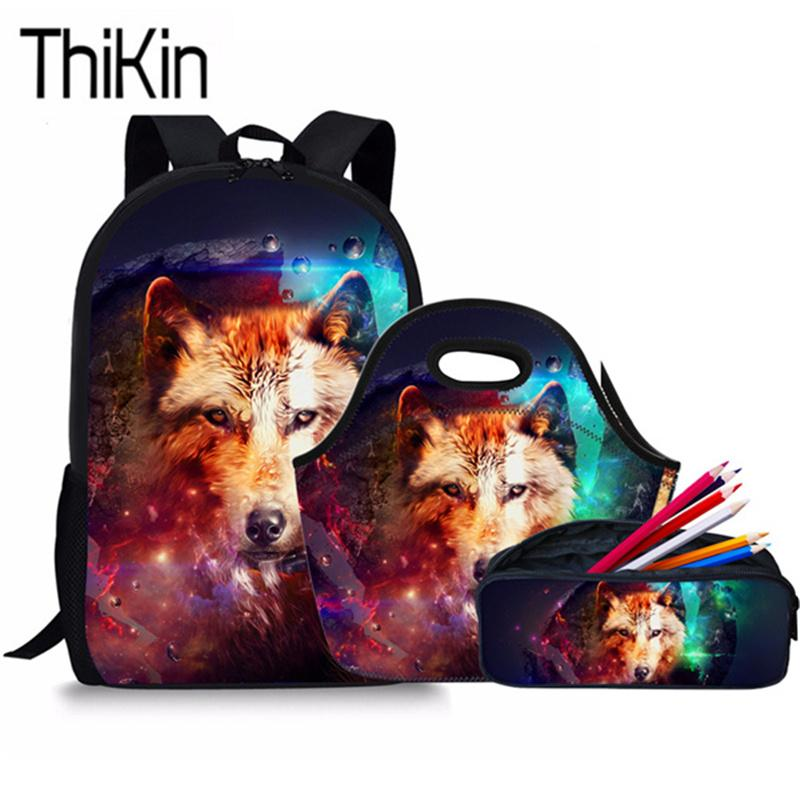 0a84d059eb83 THIKIN School Bags For Kids 3D Animal Wolf Printing Schoolbag Backpacks Boys  Cool Primary Shoulder Bagpack Satchel Bum Bags Hype Backpack From Nevada